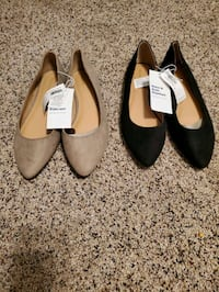 Size 9 Black and Beige suede slip ons