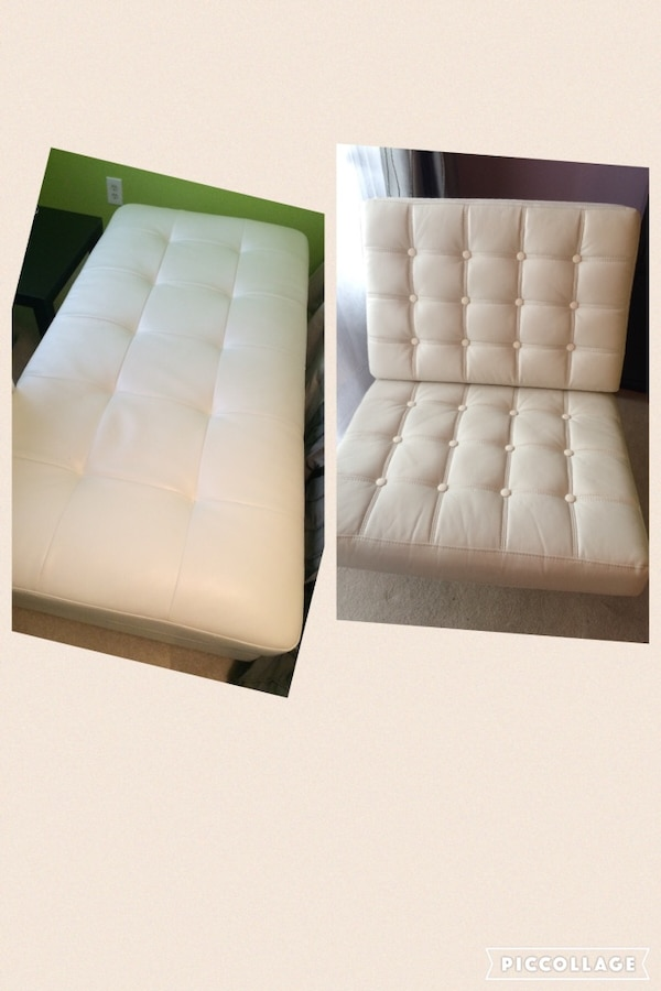White leather ottoman and chair. Like New