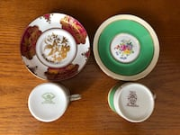 $10 for 2!! Gorgeous Vintage Bone China Espresso Cups and Saucers Ajax, L1T 4Z1