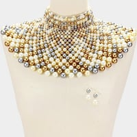 Gold and silver pearl beaded collar necklace Upper Marlboro, 20774