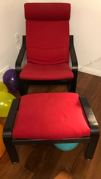 red and black leather armchair North Vancouver