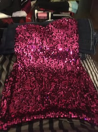 Pink sequin party dress large