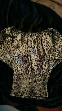 women's grey and black leopard print blouse Ceres, 95307