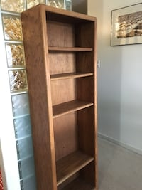 Two oak wooden bookcases