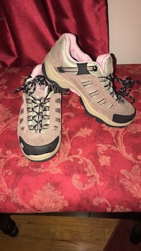 pair of gray-and-black hiking shoes