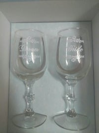 Bride and groom wine glasses.. New never used Denison