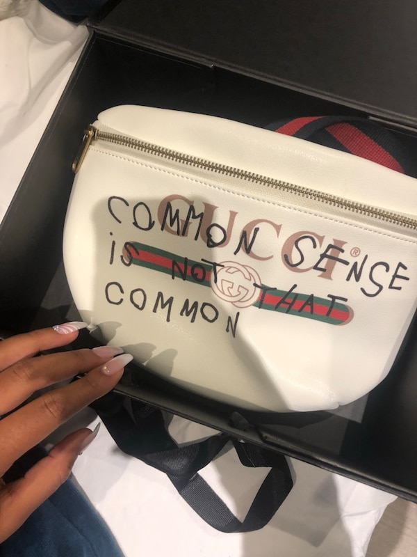 White Leather Gucci 'Common Sense Is Not That Common' White belt bag / bum bag