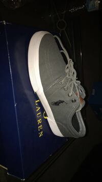 gray Polo by Ralph Lauren low-top sneaker with blue box