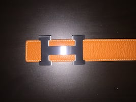 black and orange leather belt