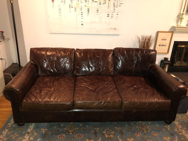 Restoration Hardware Lancaster Leather Sleeper Sofa Usado En Venta
