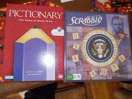 Pictionary and Scrabble Board Games