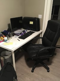 Computer desk with black leather chair  Toronto, M6E 1Y2