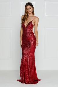 Red Sequin Prom Dress