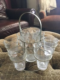 Antique bar ware. Crystal bar glass holder with tray