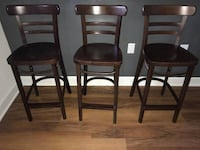 Three Dark Brown Wooden Bar Stools Alexandria, 22304