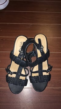 pair of black leather open-toe heeled sandals Halifax, B4B 1T7