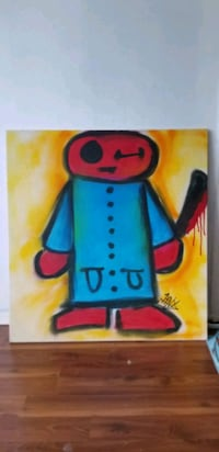 "3"" x 3"" painted canvas painting mounted in wood Toronto, M6P 2A6"