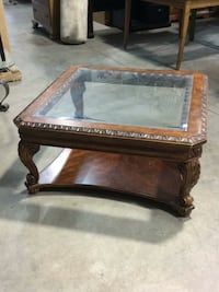 brown wooden framed glass top coffee table Mead, 80504