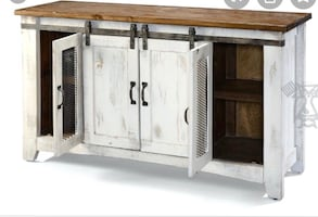 White wood barn door entertainment center like new