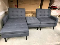two tufted gray suede sofa chairs Vaughan, L0J 1C0