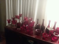 Ruby red glass set