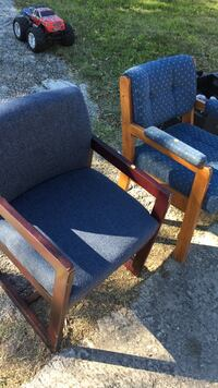 two brown wooden framed blue padded armchairs San Antonio, 78228