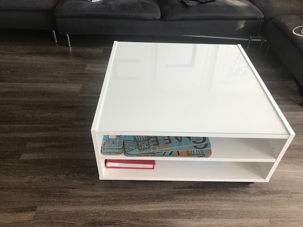 White coffee table w/glass top