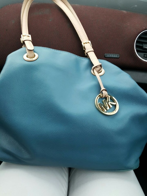 9297b7d19111e4 Used blue Michael Kors pebbled leather tote bag for sale in Hickory - letgo