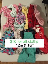Lots of cloths of 12m 18m