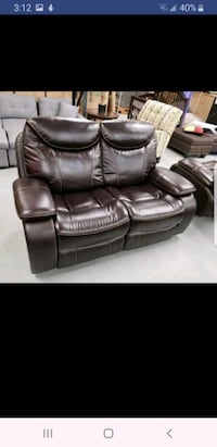 Brand new 2pc real leather recliner loveseat chair