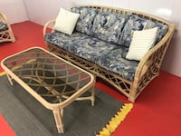 Lane Venture Bentwood Bamboo Cane Cushioned Patio Sofa With Coffee Table (Delivery Service Available) Boynton Beach, 33436