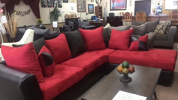 Used Red And Black Fabric Sectional Sofa For Sale In Balch Springs