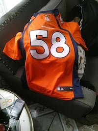orange and blue Denver Broncos 58 jersey