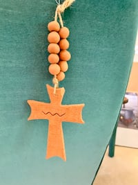 Nice Hanging Clay Cross with beads