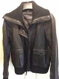 Womens black leather Danier Leather Aviator Jacket.  Mississauga