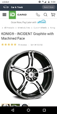 Set of four konig rims with tires and lug nuts..  Columbus