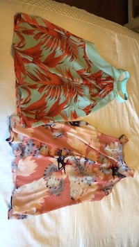 women's orange and blue floral sleeveless dress Fairfax