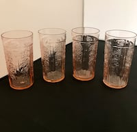 "Qty of 4 - Vintage Pink Depression Thin Tumblers - 5 1/4"", 12 oz."