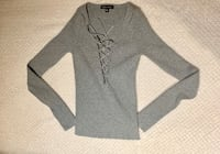 Kendall and Kylie Long Sleeve Gray Shirt Chantilly, 20152