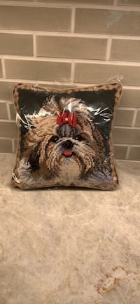 """Shih Tzu needlepoint pillow10""""x10"""" New with tags"""