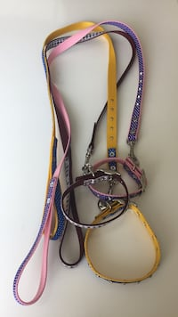 three purple,yellow,and blue dog leashes