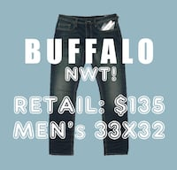 NWT! $135 *BUFFALO* men's 33x32 Super Stretchy Slim Straight Jeans Dark Blue Toronto