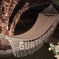 Guatemalan Handmade Hammock - 100% cotton and wood - Withe with an embroidery that says Guatemala Rowland Heights, 91748