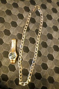 Geneva mens watch and necklace