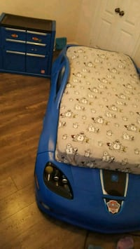 Kids car bed (Corvette) w/ tool chest cabinet/night stand
