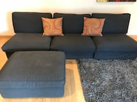 Gray cushion couch & ottoman only firm