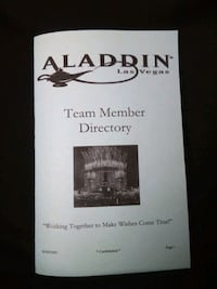 Collectable Aladdin Casino  team phone directory. Las Vegas