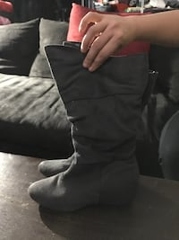Grey suede boots size 6