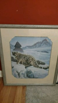 black and brown snow leopard painting with frame Stratford, 08084