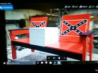 red and black wooden table